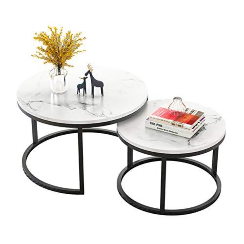 ZRXian-Kaffeetische Runder Couchtisch aus MDF, moderner Cocktail-Center-Tisch für das Wohnzimmer in Weiß, 70 cm × 50 cm, 2er-Set
