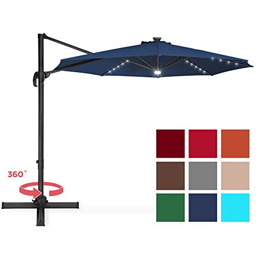 Best Choice Products 10ft Solar LED 360 Degree Rotating Cantilever Offset Patio Umbrella w/Easy Tilt - Navy Blue