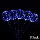 ZancyBuzz 18 Inch 5 PCS Led Light Up BoBo Balloon Blue Non-Flashing Lights, Fillable Light up Balloons with Helium, Great for Christmas Party, House Decorations,Amazing Party Decoration(Blue)