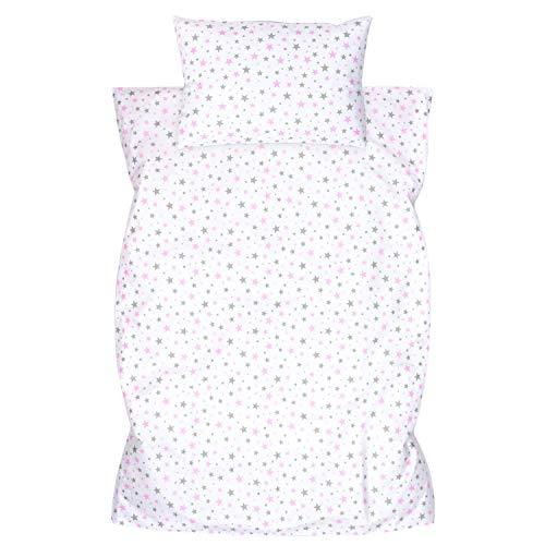 Amilian Ropa de cama infantil de 2 piezas, 100% algodón, ropa de cama para bebé, funda de edredón de 100 x 135 cm, funda de almohada de 40 x 60 cm, con cierre de hotel, estrellas, rosa, gris claro