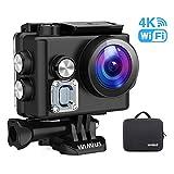 WiMiUS Caméra d'action L2 4K, caméra Sport Ultra-HD 12MP Caméra sous-Marine étanche 40M Écran de 2 Pouces avec kit d'accessoires et 2 Piles (Noir)