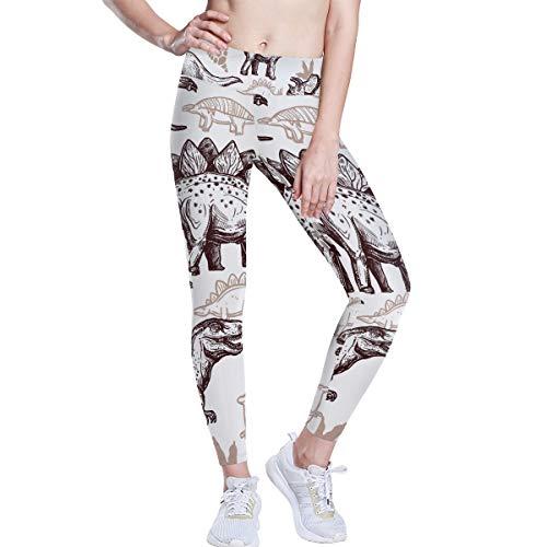 FANTAZIO Tekenen Dinosaurussen Voetafdrukken Patroon Hoge Taille Yoga Broek Tummy Controle Yoga Capris voor Vrouwen, 4 Weg Stretch Capri Leggings