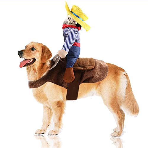 Juesi Cowboy Rider Dog Costume for Dogs Clothes Knight Style with Doll and Hat for Halloween Day Pet Costume (XL) (M)