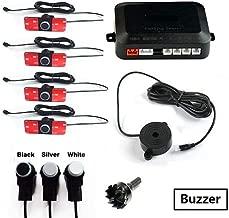 $26 Get Pro-Cush Car Parking Sensor Set LED/LCD/Buzzer 4 Flat Reverse Display Parking Sensor Kit 16mm 12V Backup Radar Monitor System (Color : Plus Buzzer, Size : White Sensor)