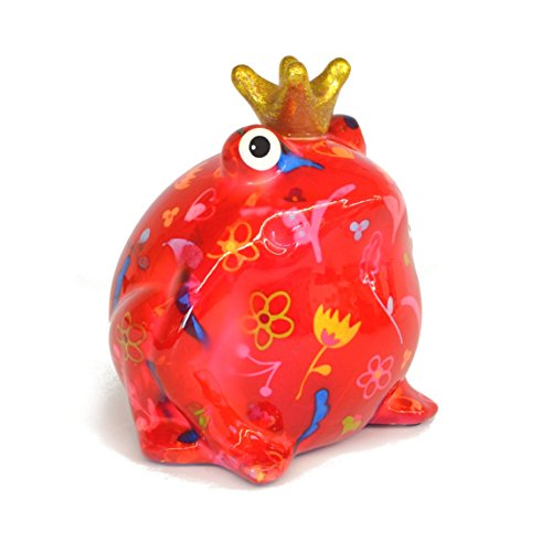 Pomme Pidou Spardose Frosch mit Herzen, Blumen oder Vogelmotiv Design Spardosen aus Keramik mit lustigen Tiermotiven (Blume rot)