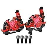VGEBY Freno de Disco hidráulico, Bicicleta HB-100 Aleación de Aluminio Freno de Disco mecánico Conjunto de Conjunto de Freno de Disco de Bicicleta de montaña Trasera Delantera(Rojo)