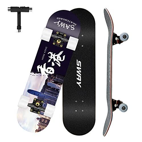 VOMI Skateboard Completo, Patineta para Principiantes, 79 x 20,5 cm 7 Capas Monopatín de Madera de Arce Tabla Doble Patada Skateboard para Niñas Niños Adolescentes Adultos
