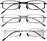Eyekepper 3 Paia Occhiali da Lettura Montatura in Metallo Resistente per Uomo Donna Occhiali Presbite Acciaio Leggero Colori Misti Diottria +3.00