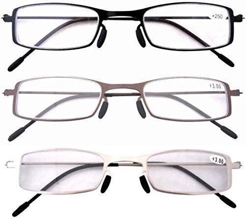 Eyekepper 3 Paia Occhiali da Lettura Montatura in Metallo Resistente per Uomo Donna Occhiali Presbite Acciaio Leggero Colori Misti Diottria +2.75