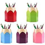 Porta lápices, organizador de escritorio para papelería, soporte creativo para bolígrafo con punta de lápiz para escritorio, paquete de 5 soportes para pinceles de maquillaje
