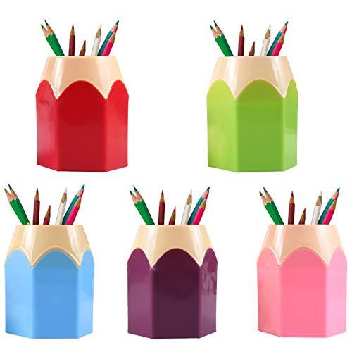 Plastica Removibile Portapenne Creativo, Portapenne Creativo a Forma Punta di Matita, assortiti penna matita vaso porta pennelli trucco cancelleria per scrivania, organizzatori 1 Set 5 color
