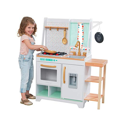 KidKraft Kensington Market Wooden Kids Kitchen Playset with Lights, Sounds & Kitchen Toys for Boys & Girls (Toddlers Ages 3+)