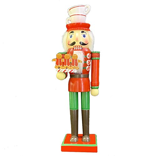 LUYIYI Christmas Gingerbread Chef Nutcracker, Hand Crafted Wooden Puppet 13 inch Decorative Tabletop Figurine