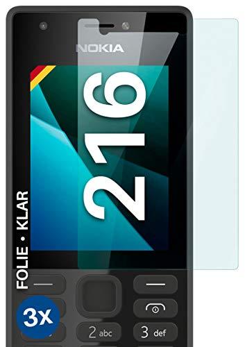moex [3 Stück] Schutzfolie kompatibel mit Nokia 216 Bildschirmfolie Hüllen-Fre&lich, 0.2 mm dünne Bildschirmschutzfolie, Display Schutz extra Kratzfest - HD Ultra-Klar
