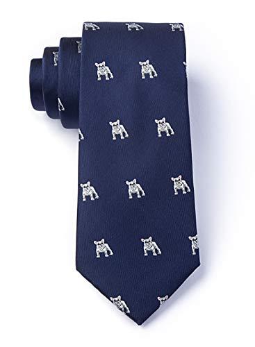 Mens Navy Blue French Bulldog Dog Animal Extra Long XL Tie Necktie (Navy Blue)