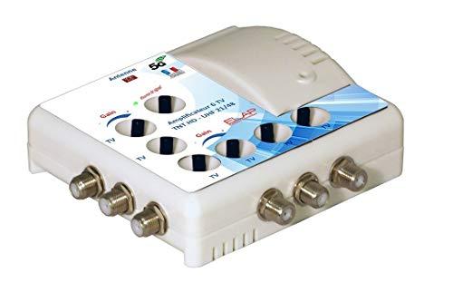 Elap 372016 Amplificateur TV TNT Intérieur - 6 Sorties - Filtre 4G Blanc 372016