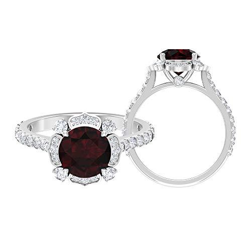 Anillo solitario de 8 mm, D-VSSI Moissanita, anillo de compromiso Art Déco, oro blanco de 14 quilates rojo