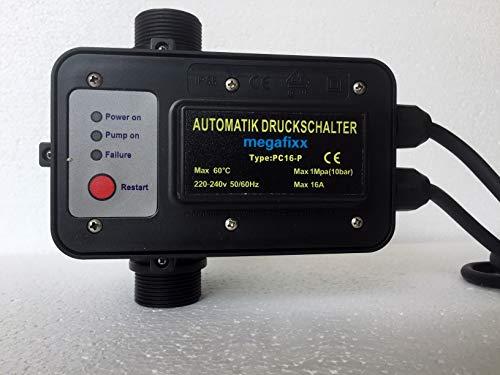 Pumpensteuerung megafixx PC16-P Druckschalter mit Trockenlaufschutz - verkabelt - bis 10 BAR - 30 Ah - 1 1/4 Zoll AG (inkl. Reduzierung auf 1 Zoll)