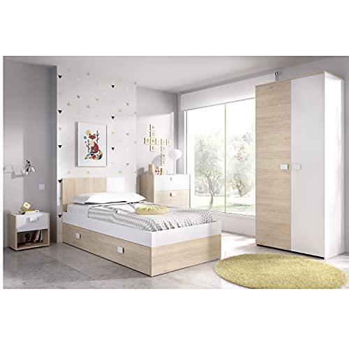 HABITMOBEL Dormitorio Juvenil Armario ropero,Cama cajones, mesita y cómoda somir Incluido