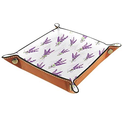 Catchall Tray Desk Organizer Valet Tray für Herren Damen Schlüsselablage für Tischmünze Aufräumen für das Büro zu Hause Lavendel-Blumenstrauß-Blütenblätterdekorationen