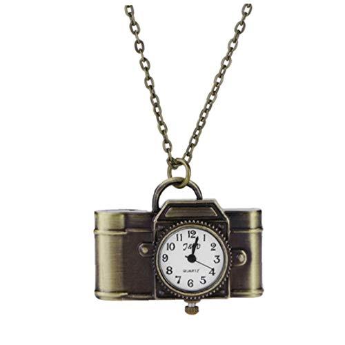 hong Wu Frauen Taschen-Uhr-Quarz Analog Kamera Geformte Bronze Weinlese-Kasten-Uhr Fob Uhr Mit Halsketten-Kette