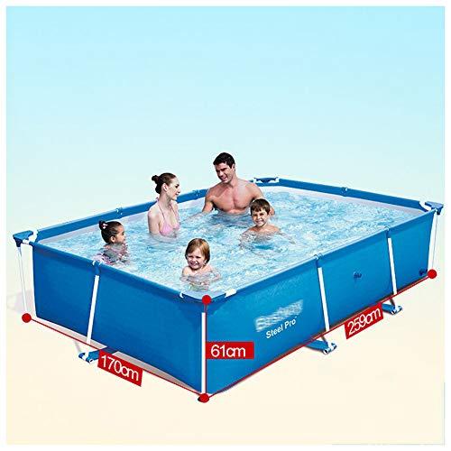 YKHOME Grande Piscina, Centro di Nuoto per Bambini E Adulti,con Staffa in Tubo d'Acciaio, Rettangolare da Giardino Stagno da Pesca di Grande capacità Ispessito Blu,259 * 170 * 61 cm