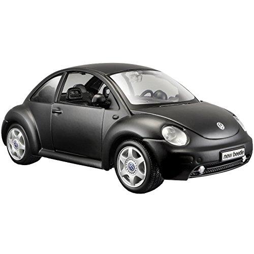 Maisto Volkswagen New Beetle: Originalgetreues Modellauto 1: 25, Türen und Motorhaube zum Öffnen, Fertigmodell, 20 cm, schwarz (531975M)