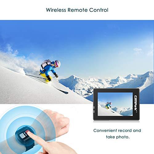 Campark Camara Deportiva 4K WiFi 16MP Impermeable Cámara de Acción 170 Gran Angular con Control Remoto 2 Baterías