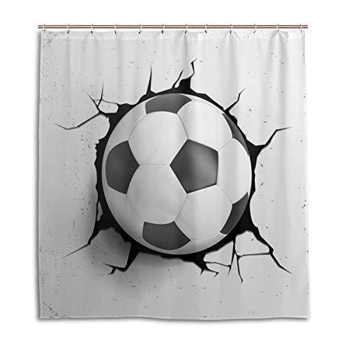 CPYang Duschvorhang Sport Fußball Ball Wasserdicht Schimmelresistent Badevorhang Badezimmer Home Decor 168 x 182 cm mit 12 Haken