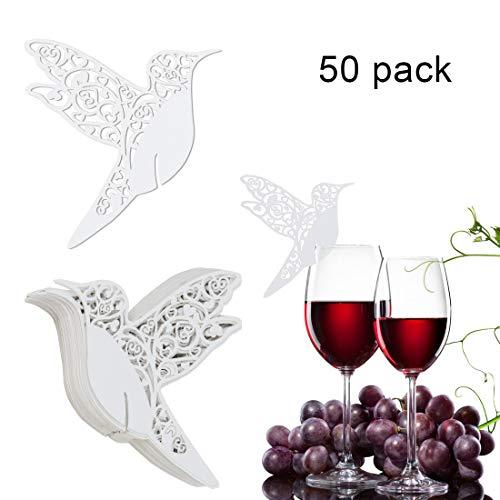 50 stuks wijnglazen tafelkaarten, bruiloft tafelkaartjes, tafeldecoratie bruiloft, witte lasergesneden vogel vorm zitkaarten, bruiloft naamkaartjes glasdecoratie