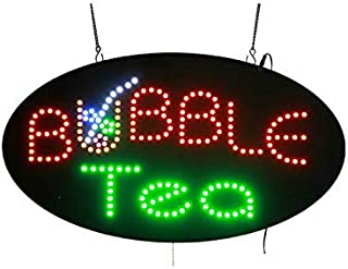 LED Bubble Tea Open Light Sign Super Bright Electric Advertising Display Board for Juice Bar Boba Tea Smoothie Coffee Cafe Business Shop Store Window Bedroom Decor 27 x 15 inches