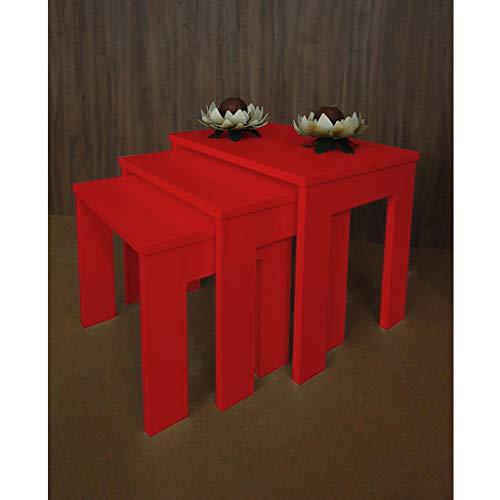 Conjunto Mesas Ninho Lateral de Apoio Centro Laqueada - Vermelho
