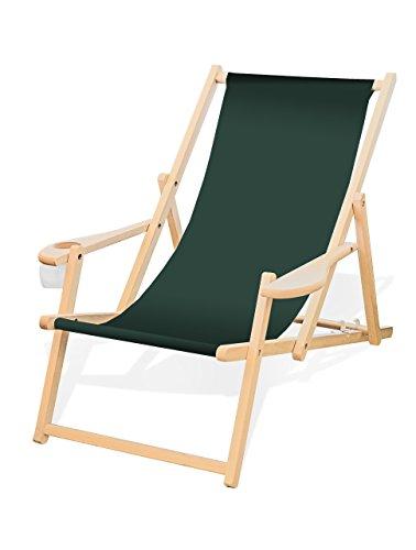 Holz-Liegestuhl mit Armlehne und Getränkehalter, Klappbar, Wechselbezug (Tannengrün)