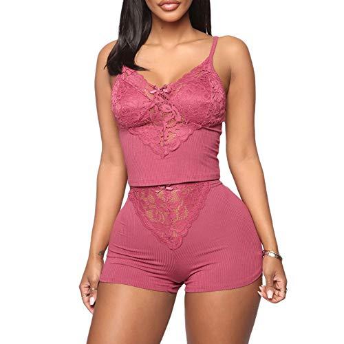 Conjunto de pijama de encaje sexy de encaje y pantalones cortos de dos piezas, ropa de dormir