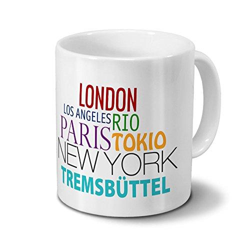 Städtetasse Tremsbüttel - Design Famous Cities of the World - Stadt-Tasse, Kaffeebecher, City-Mug, Becher, Kaffeetasse - Farbe Weiß