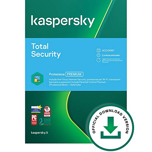 Kaspersky Total Security 2021 | 1 Dispositivo | 1 Anno | PC / Mac / Android  | Codice d'attivazione per PC via email