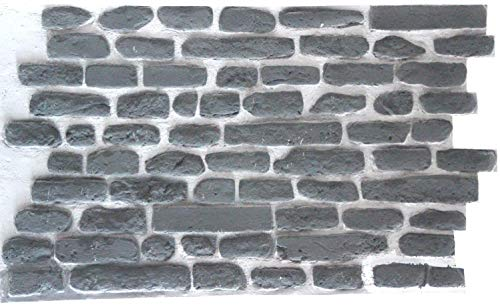 FRP 3D Wall Panels DIY Glue and Nails Installation,Brick Wall Panels Stone Tile, Lightweight Long Lasting (FRP)Resin Fiberglass Material for House Extrior and Interior Wall (Gray)