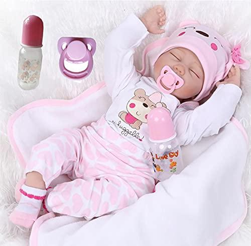 ZIYIUI 22 Pulgadas 55cm Muñecas Reborn Bebé Niña Silicona Suave Vinilo Vida Real Realista Hecha a Mano Reborn Bebe Regalos Navideños