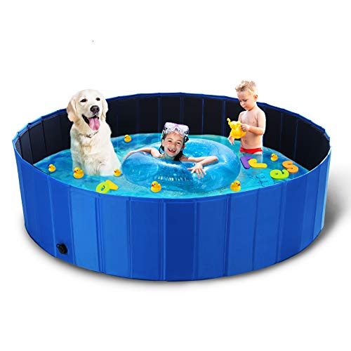 TOOCA Foldable Dog Pool Plastic Kiddie Pool, XXL Collapsible Dog Pools for Large Dogs Indoor & Outdoor Dog Swimming Pool Bathing Tub Kiddie Pool for Dogs Cats & Kids (63'' Diameter x 15.7'' Height)