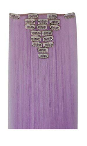 S-noilite 26 Inches(66cm) Long Straight Light Purple Full Head Hairpiece Clip in Hair Extensions 8 Piece 18 Clips Hairpiece Trendy Design