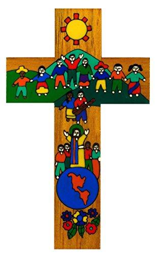 MacaMex - Croce da parete con scritta in lingua tedesca 'Friede su Terra', dipinta a mano, 30 cm