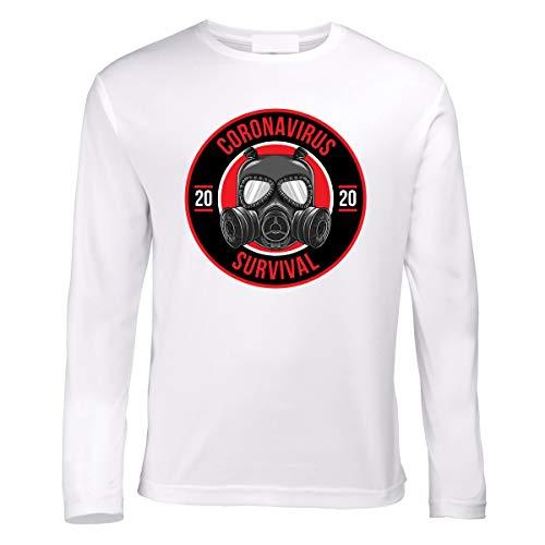 Coronavirus Covid-19 Survivor Viren Survivor Stay Home Corona - Camiseta de manga larga Blanco XXXL