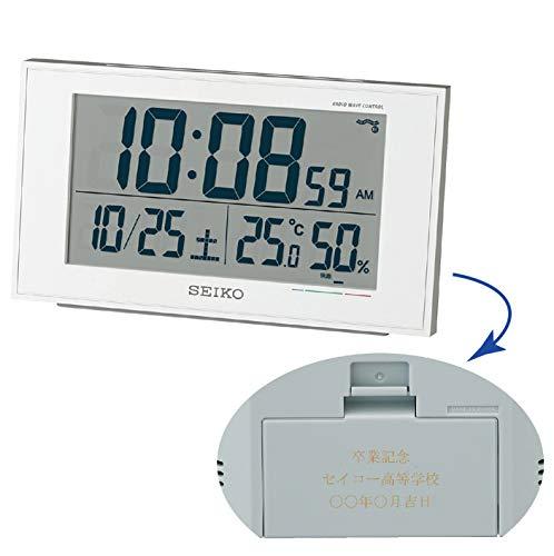 セイコークロック 置き時計 白パール 本体サイズ:8.5×14.8×5.3cm 【名入れ・包装】電波 デジタル カレンダー 快適度 温度 BC402W