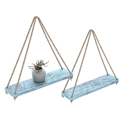 Rustic Set of 2 Wooden Floating Shelves with String – Farmhouse Hanging Shelves for Living Room Wall – Small Kitchen Shelves with Rope – 13,10cm x 42cm – Distressed, Rustic Blue Color
