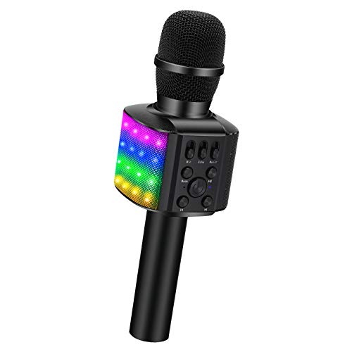 BONAOK Wireless Bluetooth Karaoke Microphone with controllable LED Lights, 4 in 1 Portable Karaoke Machine Mic Speaker Birthday Home Party for All Smartphones PC(Q36 Black)