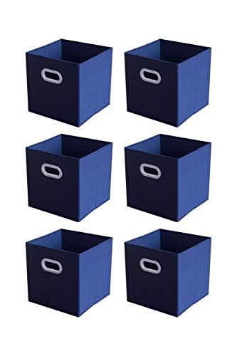 SHONPY Foldable Storage Bin Cube Organizer 6 Pack Dark Blue