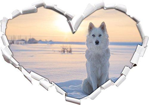 Stil.Zeit Weißer Wolf im Schnee Herzform im 3D-Look, Wand- oder Türaufkleber Format: 62x43.5cm, Wandsticker, Wandtattoo, Wanddekoration