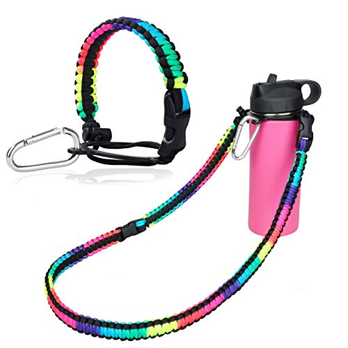 WEREWOLVES Paracord Handle with Shoulder Strap - Fits Wide Mouth Water Bottles 12oz to 64oz - Durable Carrier, Water Bottle Handle Strap with Safety Ring, Compass and Carabiner (Colorful)