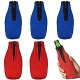Enfriador de Botellas de Cerveza,Saijer 6pcs 330ML con Cremallera Plegable Fundas Enfriadoras de Botellas Enfriador de Bebidas Utilizado en Cerveza y Otras Bebidas(Rojo&Azul)