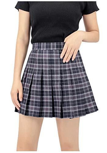 DAZCOS US Size Plaid Skirt High Waist Japan School Girl Uniform Skirts (X-Small, Black)